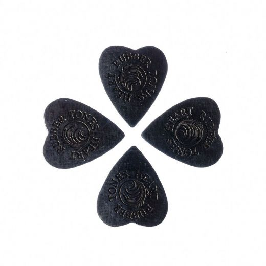 Rubber Tones Heart Black Nitrile 4 Picks